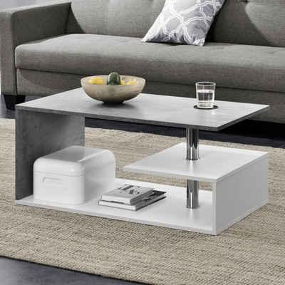 en.casa Couchtisch, »Haarlem« Beistelltisch mit Ablagefach 90x50x41cm weiß / betonfarben