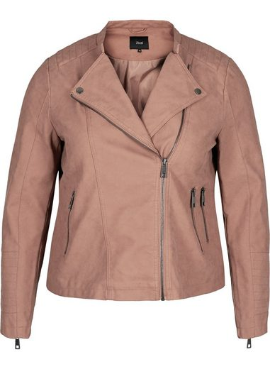 Zizzi Lederimitatjacke Große Größen Damen Jacke aus Lederimitat mit Reissverschluss und Kragen