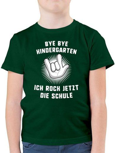 Shirtracer T-Shirt »Bye Bye Kindergarten Ich rock jetzt die Schule Hand - Jungen Kinder T-Shirt - T-Shirts« Einschulung und Schulanfang