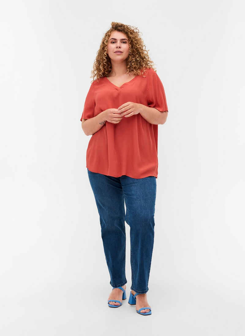 Zizzi Kurzarmbluse Große Größen Damen Bluse aus Viskose mit V-Ausschnitt und A-Linie