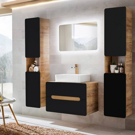 BADELO Badmöbel-Set »NEW-LUTON«, (Spar-Set, 5-tlg), Badmöbel-mit Keramik-Waschtisch & LED-Spiegel seidenmatt anthrazit mit Wotaneiche, x H x T ca.: 180 x 200 x 46 cm