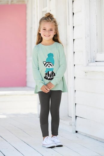 KIDSWORLD Shirt & Leggings »Waschbär« (Set, 2-tlg) mit Flockdruck-Details