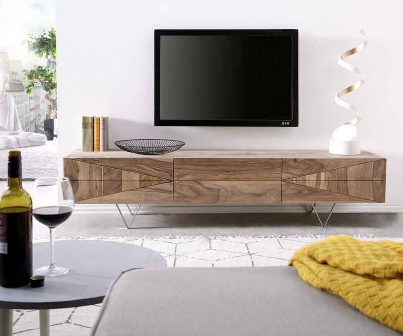 DELIFE TV-Board »Wyatt«, Sheesham Natur 175 cm 2 Türen 1 Klappe Lowboard