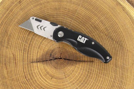 CATERPILLAR Teppichmesser »CAT Cuttermesser, klappbares Universalmesser«, (1-tlg), Aufnahme für Standard Klingen, Gürtelclip, Blattfeder Ver- und Entriegelung