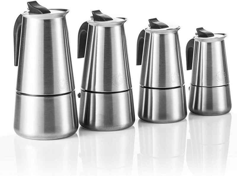 Coffee Fox Espressokocher Kaffeebereiter Kaffeekocher, Espresso-Kanne aus Edelstahl