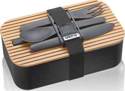 GEFU Lunchbox »ENVIRO«, Kunststoff, Silikon, Bambus, (Set, 1-tlg), inklusive 3-teiligem Besteckset