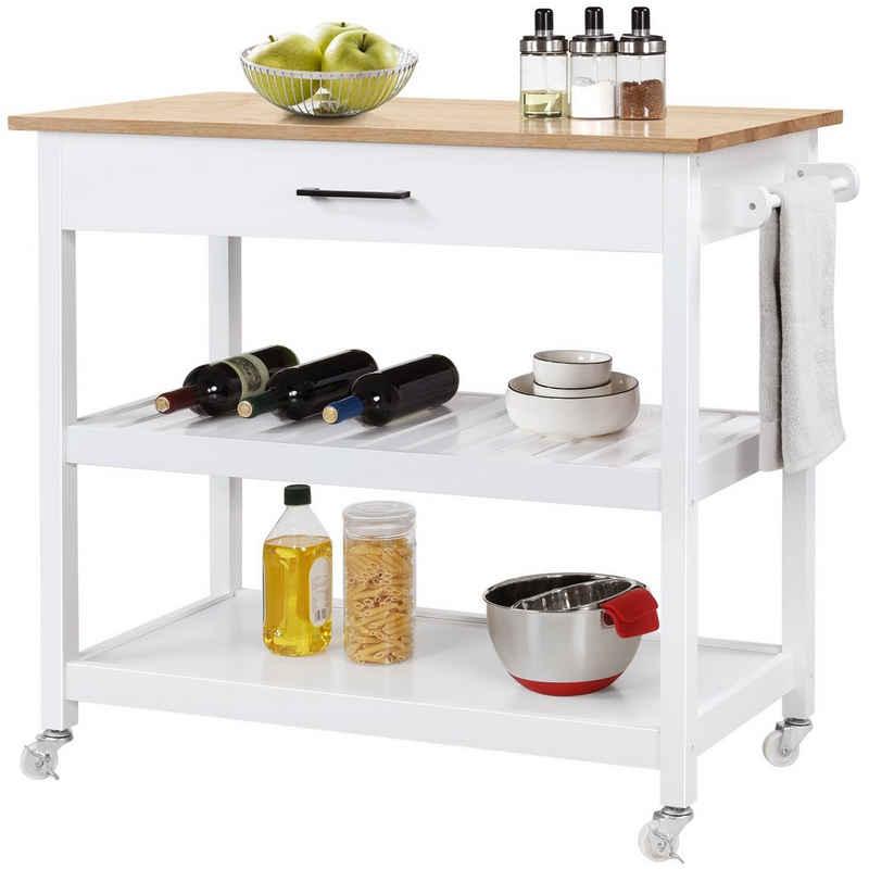 Yaheetech Küchenwagen, Servierwagen mit 2 Ebenen, Rollwagen mit Schublade, Küchenregal mit 4 Rollen, Sideboard, Beistelltisch