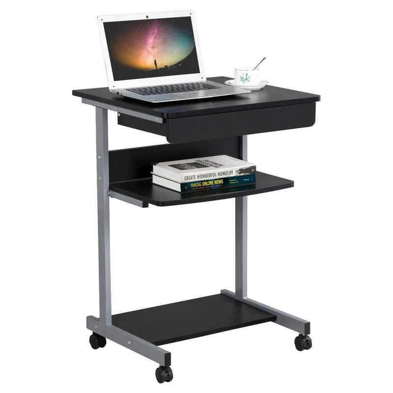 Yaheetech Computertisch, Schreibtisch, Computertisch auf Rollen, Bürotisch mit Tastaturablage und offenem Fach, Industrie-Design, 56 x 51 x 79 cm, für Homeoffice, Arbeitszimmer, Schwarz