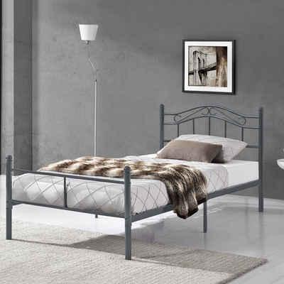 en.casa Metallbett, »Florenz« Bettgestell Jugendbett dunkelgrau in verschiedenen Größen