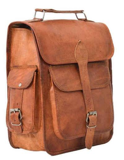 Gusti Leder Cityrucksack »Eleanor«, Rucksack Collegerucksack Lederrucksack Cityrucksack Vintage Damen Braun Leder