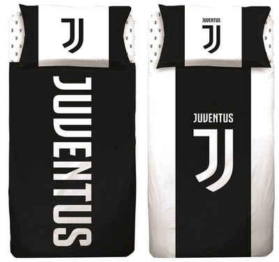 Kinderbettwäsche »Juventus Turin - 2 x Fan-Bettwäsche-Set, 135x200 & 80x80 cm«, Juventus Turin, 100% Baumwolle