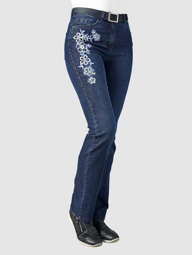 Paola Jeans Mit Blütenstickerei