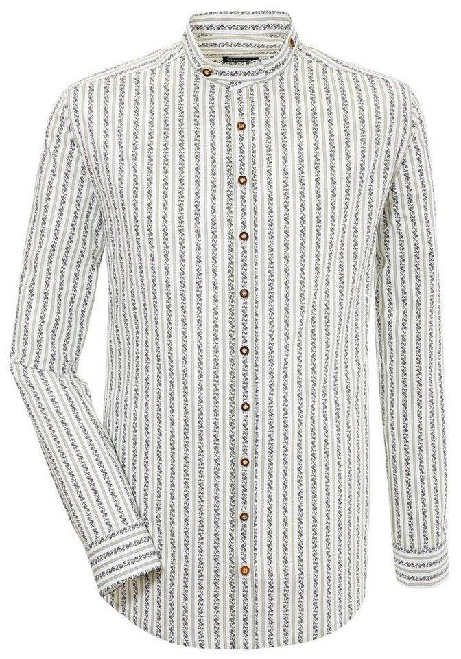 Herren OS-Trachten Trachtenhemd mit Rankenmuster grün | 04062143105840