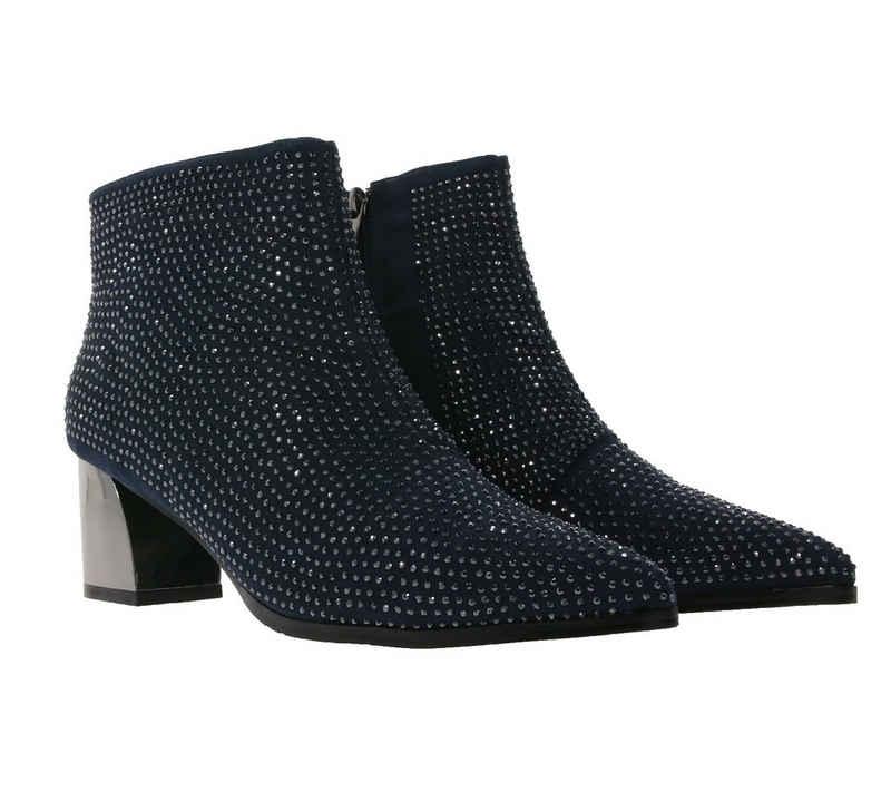 XYXYX »xyxyx Stiefelette funkelnde Damen Stiefel mit Schmucksteinchen und Blockabsatz Mode-Schuhe Blau« Stiefelette