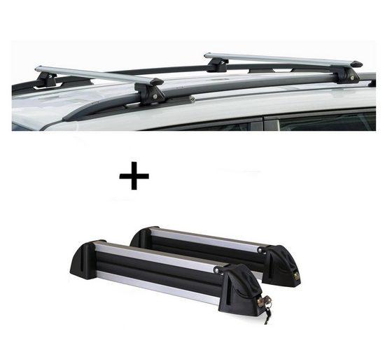 VDP Fahrradträger, Relingträger CRV135 + Skiträger / Snowboardträger / Skihalter Alu 4 Paar Ski kompatibel mit Kia Clarus 96-01