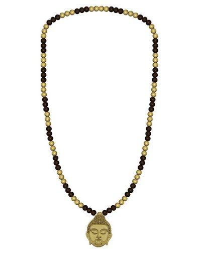 WOOD FELLAS Halsband »WOOD FELLAS Hals-Kette schicker Holz-Schmuck mit Anhänger Thai Buddha Necklace Braun/Beige«