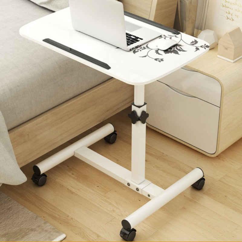 Masbekte Schreibtisch, drehbar Laptoptisch, Pflegetisch, Betttisch, Sofatisch, höhenverstellbar, Tischplatte klappbar, Beistelltisch mit Rollen, Sofatisch