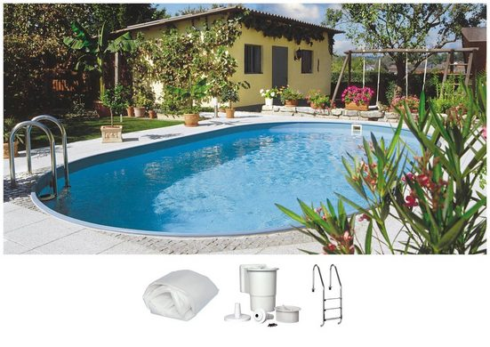 CLEAR POOL Set: Ovalpool »CP OFB STD«, 4-tlg., BxLxH: 300x490x120 cm