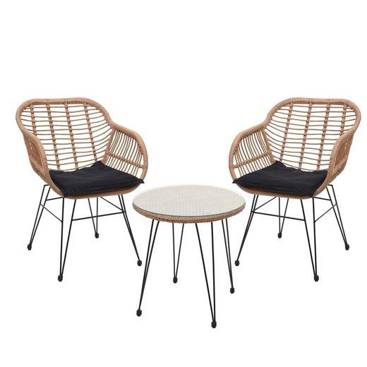 MCW Sitzgruppe »MCW-G17«, (Set, 3-tlg), Modernes Design, Hohe Stabilität, Glasplatte befestigt durch Saugnäpfe, Max. Belastbarkeit pro Stuhl: 120 kg