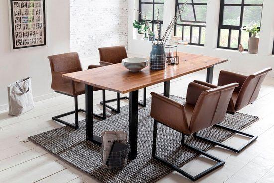 SalesFever Essgruppe, (Set, 5-tlg), bestehend aus 4 modernen Freischwinger Stühlen und einem Baumkantentisch 160 cm