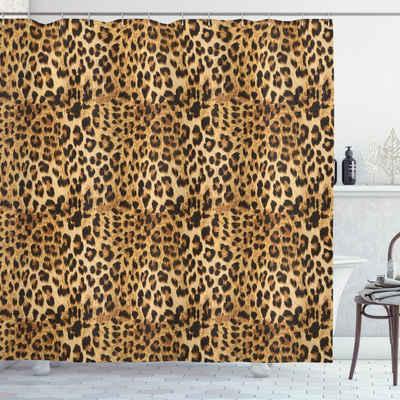 Abakuhaus Duschvorhang »Moderner Digitaldruck mit 12 Haken auf Stoff Wasser Resistent« Breite 175 cm, Höhe 180 cm, Braun Leopard-Druck