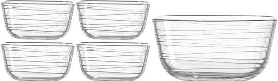 LEONARDO Servierschüssel »GUSTO STRUTTURA«, Glas, (Set, 5-tlg), gewellte Struktur