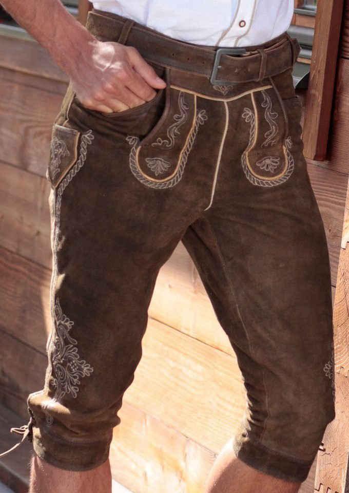 MarJo Trachtenlederhose »Herren« (2-tlg., mit Gürtel) mit traditioneller Stickerei