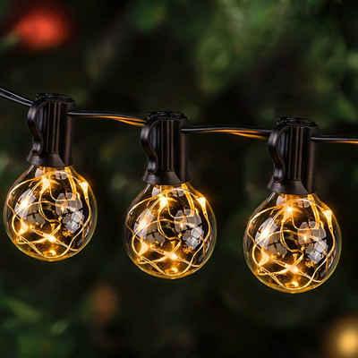 GlobaLink LED-Lichterkette »G40 Lichterkette Außen und Innen«, 30-flammig, Lichterkette Außen 11,7M Garten Lichterkette mit 30 Birnen IP65 Lichterkette Glühbirnen G40 GlobaLink Außen-/Innenbeleuchtung mit stecker Deko für Zimmer, Bar, Garten, Balkon(3 Ersatzbirnen)-Warmweiß