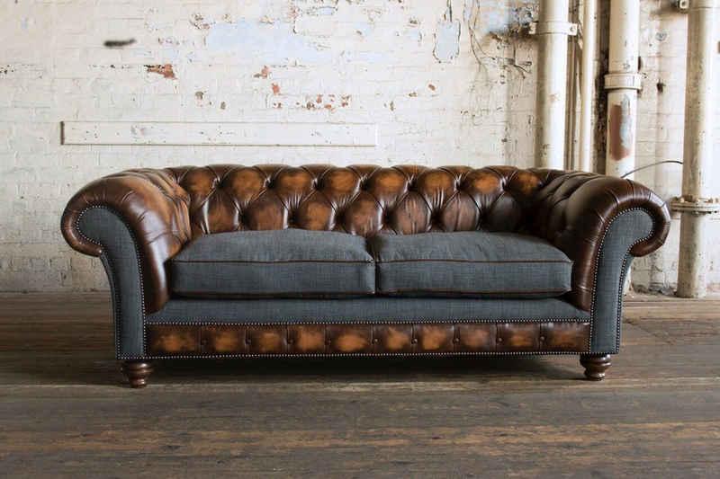 JVmoebel Chesterfield-Sofa, Chesterfield 3 Sitzer Garnitur Design Sofa Couch 220 cm