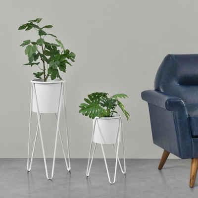 en.casa Blumenständer, »Hedera« Blumenkübel 2er Set Pflanzenständer Pflanztopf Metall weiß