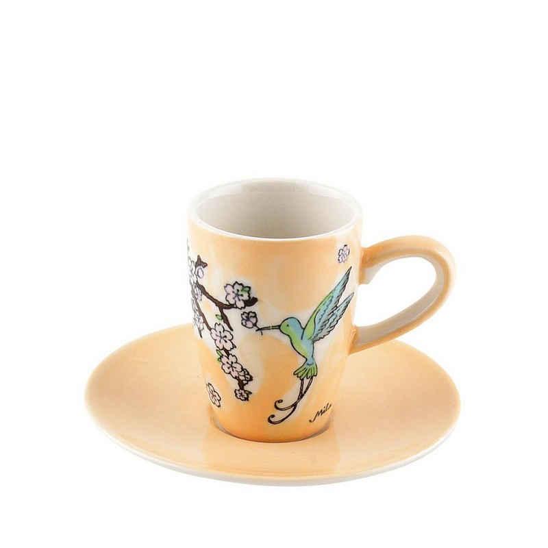 Mila Espressotasse »Mila Keramik Espresso-Tasse mit Untere Kolibri«, Keramik