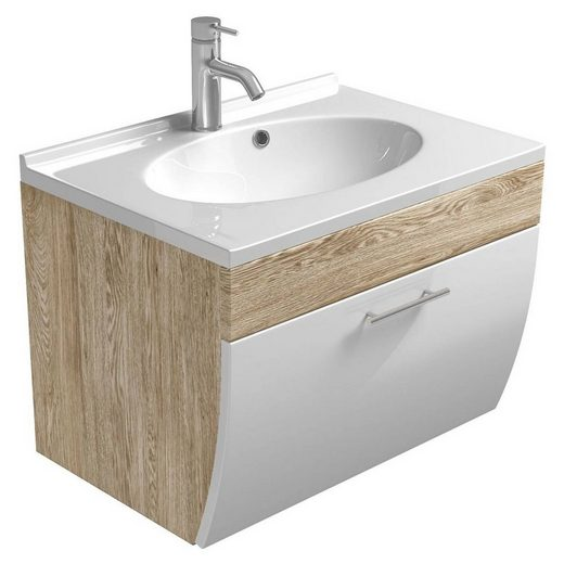 Lomadox Waschtisch »TALONA-02«, Waschtischunterschrank 70cm mit Waschbecken Hochglanz weiß, Sonoma Eiche, B x H x T ca.: 70 x 51 x 49,5 cm