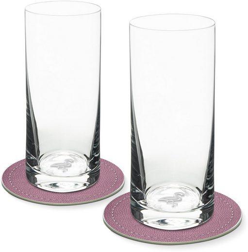 Contento Longdrinkglas, Glas, Flamingo, 400 ml, 2 Gläser, 2 Untersetzer