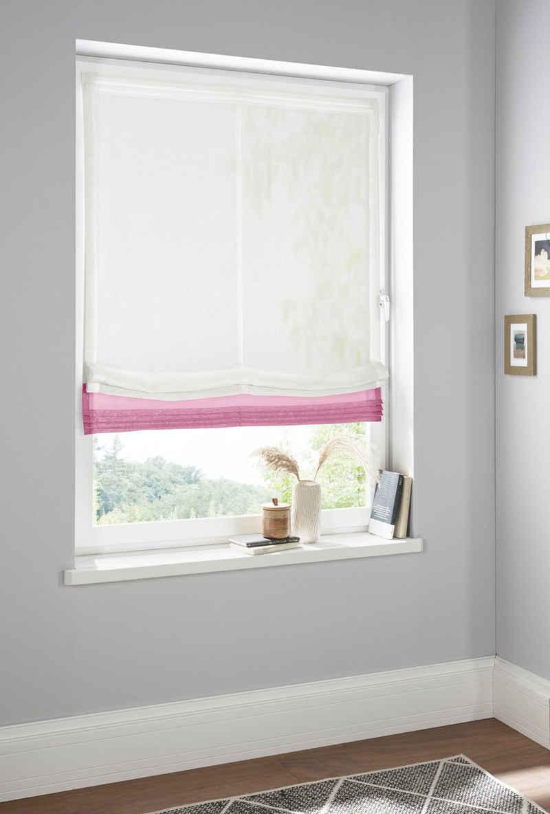 Raffrollo »Gander«, Home affaire, mit Klettband, halbtransparent, mit farbiger Faltenblende, pflegeleicht