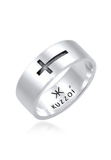 Kuzzoi Silberring »Herren Bandring Kreuz Glanz 925 Silber«