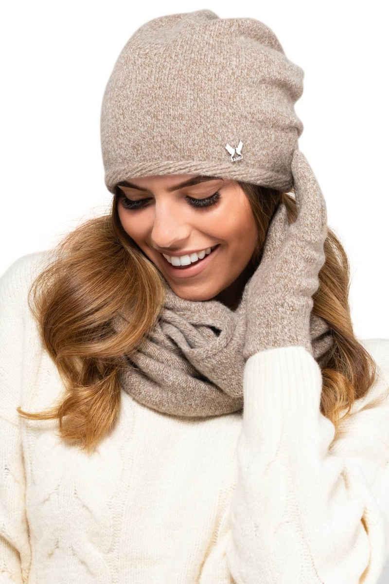 Kamea Strickmütze »Winterset für Damen Anna 2-Teilig bestehend aus Loop-Schal und Wintermütze, Beanie, Damenschal als Winter-Schal, hergestellt in EU«