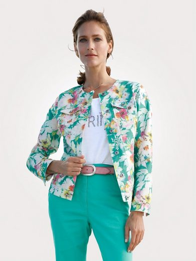 Mona Jeansjacke mit floralem Druckdessin