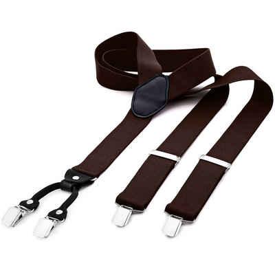 DonDon Hosenträger »DonDon® Herren Hosenträger breit 4 Clips mit Leder« (1-St) Y-Form, verstellbar mit Clipverschluß, elastisch