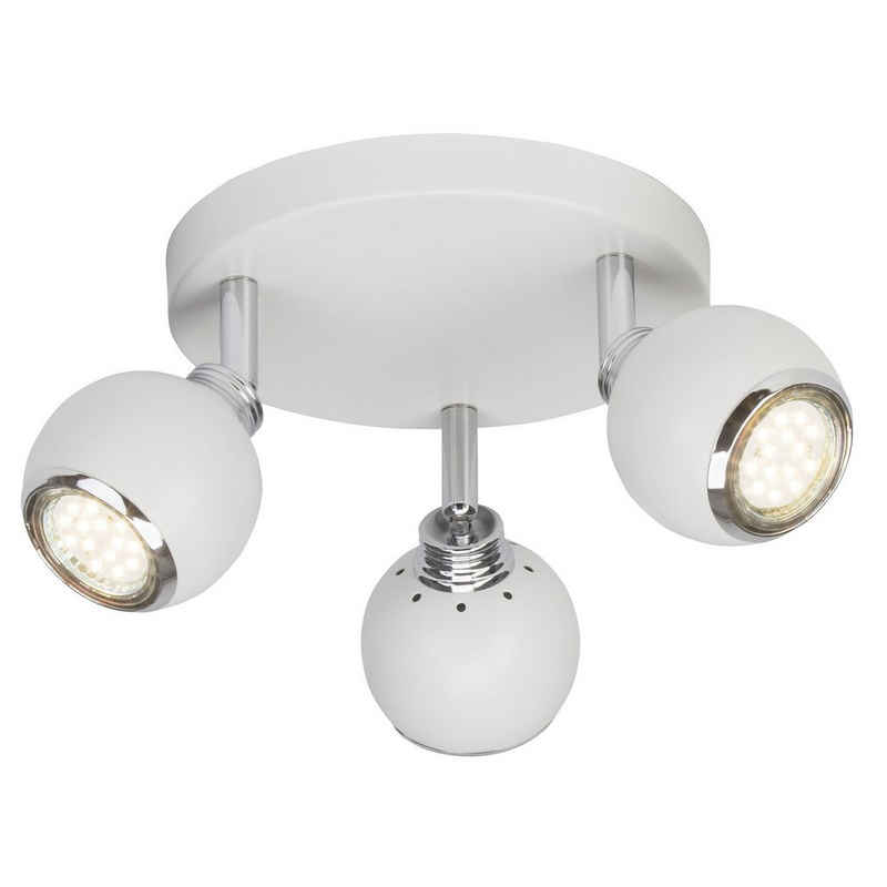 Brilliant Leuchten Deckenstrahler »Ina«, LED Spotrondell 3flg weiß/chrom