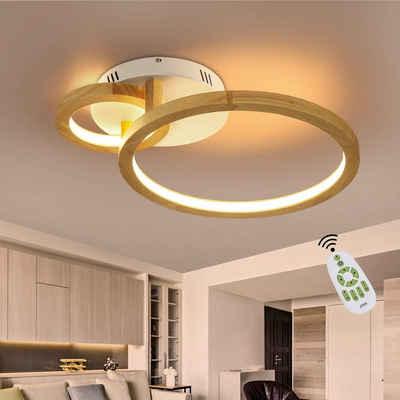 ZMH LED Deckenleuchte »Deckenlampe Holz Wohnzimmer Dimmbar mit Fernbedienung 52cm Ring Kronleuchter 37W für Schlafzimmer Esszimmer Küche«