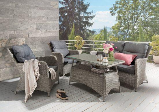 DESTINY Loungeset »Paguera«, 4-tlg., 2 Sessel, Sitzbank, Tisch 109x60 cm, Alu/Polyrattan