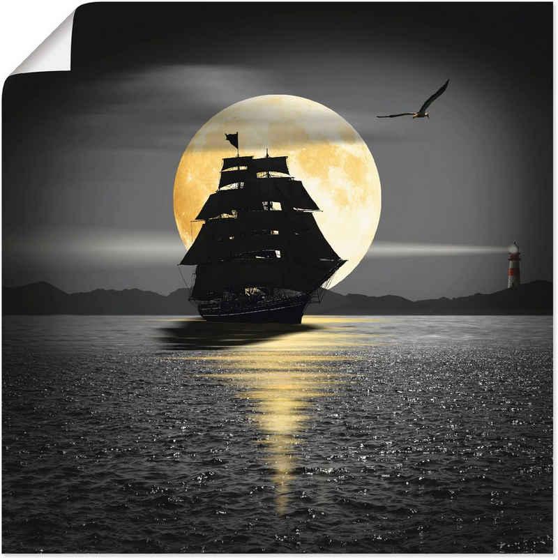 Artland Wandbild »Ein Schiff mit schwarzen Segeln«, Boote & Schiffe (1 Stück), in vielen Größen & Produktarten -Leinwandbild, Poster, Wandaufkleber / Wandtattoo auch für Badezimmer geeignet