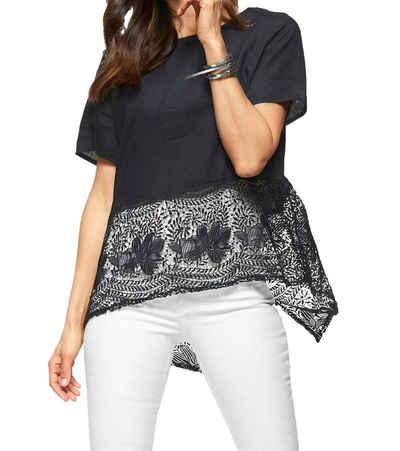 Clarina Kurzarmbluse »CLARINA Spitzen Leinen-Bluse legere Damen Kurzarm-Bluse im Ethnostil Freizeit-Shirt Navy«