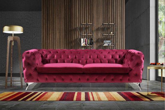KAWOLA Sofa »NARLA«, Chesterfield Stoff 3-Sitzer versch. Farben