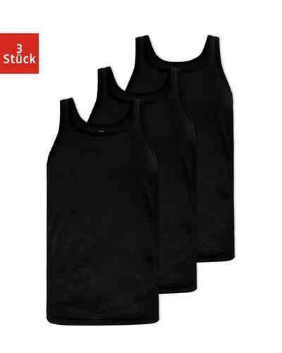 SNOCKS Ripptanktop »Feinripp Unterhemden Herren« (3-tlg) aus Bio-Baumwolle, extra lang, ohne kratzenden Zettel