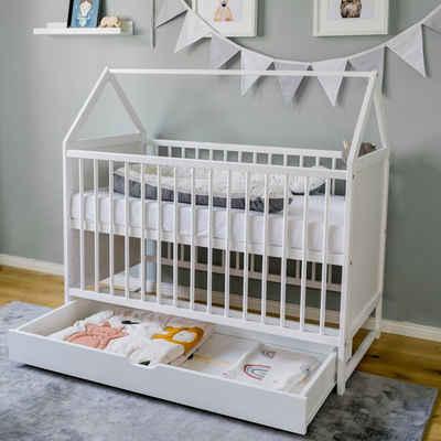 Kids Collective Babybett »60x120 cm Beistellbett Kinderbett und Hausbett in einem«, weiß, höhenverstellbar und umbaubar, Gitterbett Made in Europe, mit Schublade