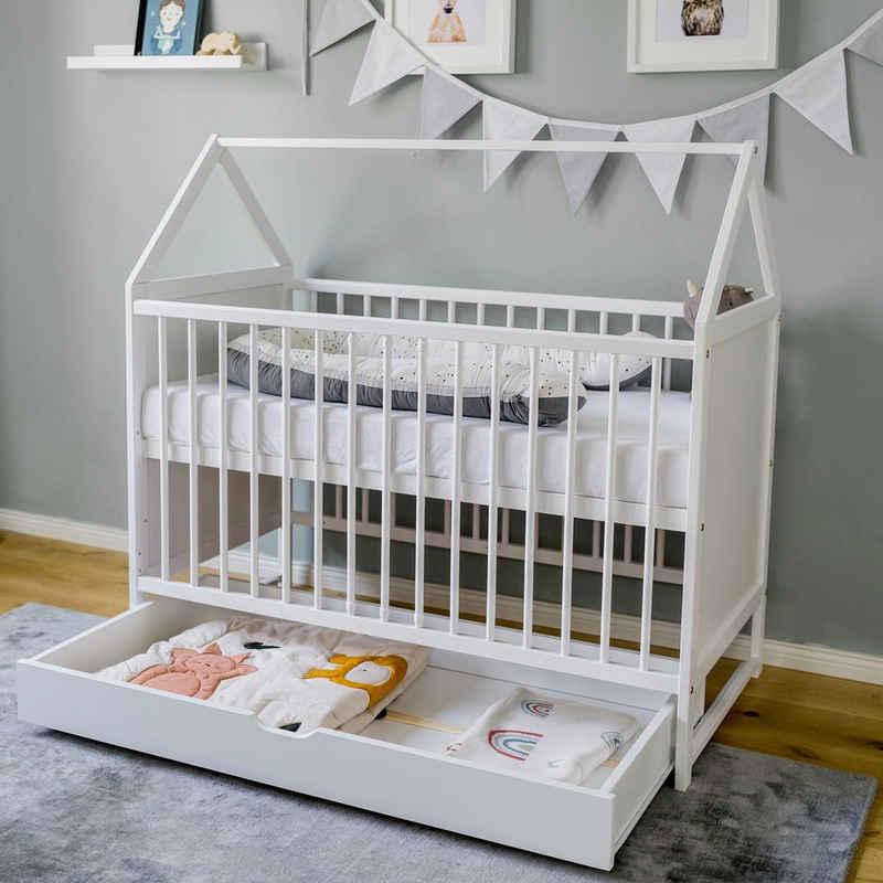 Kids Collective Babybett »60x120 cm Beistellbett Kinderbett und Hausbett in einem, mit Schublade«, optional mit Matratze
