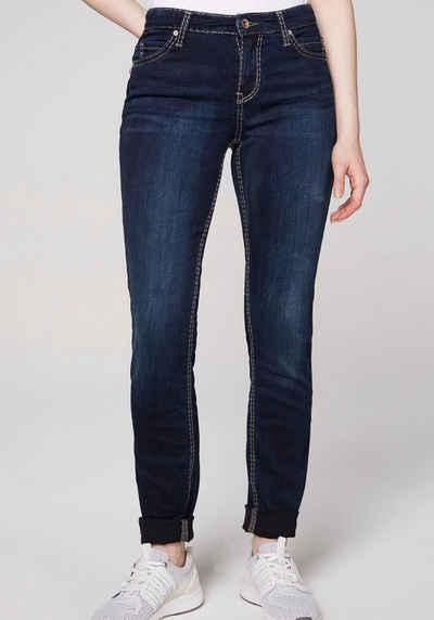 SOCCX Skinny-fit-Jeans mit kontrastfarbenen Nähten
