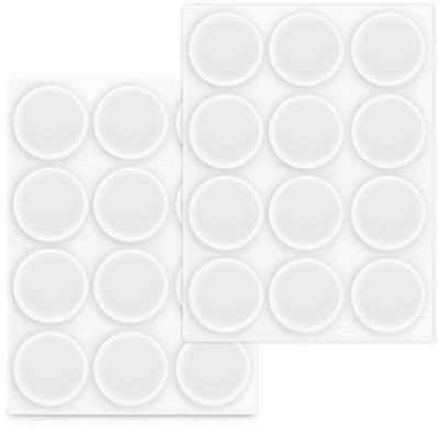 Navaris Wandtürstopper, Elastikpuffer transparent 24x Anschlagpuffer - Selbstklebende Puffer für Wand Schrank Glasplatte Ø 22mm - Türstopper Schutzpuffer