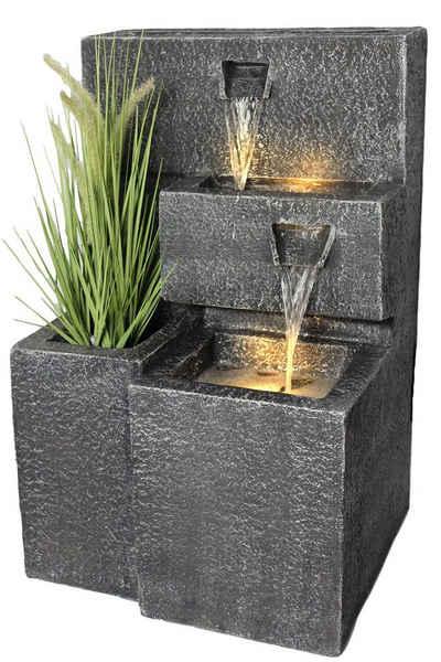 Arnusa Gartenbrunnen »Grada Springbrunnen«, (Komplett-Set), mit LED Beleuchtung und Pflanzbecken